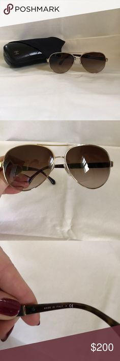 Chanel excellent condition aviators. 100%authentic Chanel excellent condition pilot apron aviators gold brown frames. Includes case and dust cloth CHANEL Accessories Sunglasses