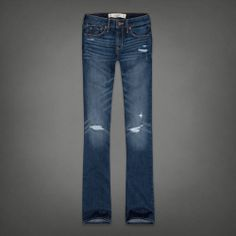 Abercrombie and Fitch Mid Rise dark destroyed jeans. Missing boot cuts!