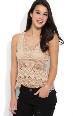Deb Shops Embroidered #Crochet Tank with Scalloped Bottom $23.90