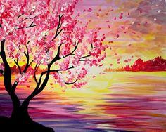 Pink flowering tree and orange pink sunset painting. Paint nite.