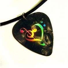 music heart guitar pick necklace, black and gold on leather ...