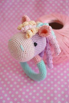 Natural Teether Rattle Horse organic Teether safe by EcoBusinka Crochet Horse, Crochet Lovey, Crochet Baby Toys, Crochet Unicorn, Crochet Quilt, Crochet Gifts, Crochet For Kids, Crochet Dolls, Newborn Toys