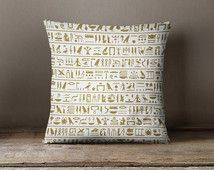 Hieroglyphics Pillow | Ancient Egypt | History Teacher Gift | Egyptian Decor | Egyptian Pillow | Egyptian Gift | Egyptian Print