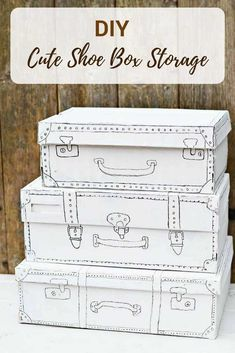 This cute shoe box craft shows you how to turn a humble shoe box into some really cute craft storage. All you need is a bit of white paint and a black sharpie. Shoe Box Storage, Paper Storage, Craft Storage, Storage Ideas, Craft Organization, Cute Crafts, Crafts To Make, Easy Crafts, Upcycled Crafts
