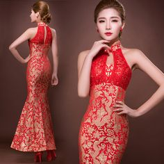 Shop elegant silk cheongsam, traditional Chinese red bridal dresses, sexy modernize Qipao from www.ModernQipao.com. Save 6% by share our products. Golden dragon red brocade Chinese mermaid bridal wedding dress