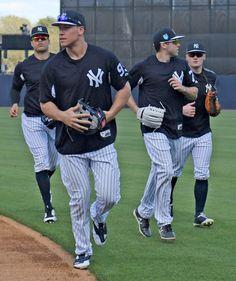 New York Yankees' Giancarlo Stanton, left, and Aaron