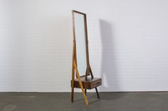Danish Modern Rosewood Standing Mirror with Drawer — Mid-Century Modern Finds