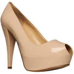 Nine West Kaboose Peeptoe Concealed Platform Court Shoes, Nude