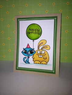 Inspired by Kristina Werner. Party Pals Happy Birthday handmade card with Paper Smooches stamp and copics.