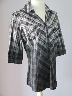 Dip Dyed plaid shirt Juniors womens Med. Kool Hearts black & white  #KoolHearts #buttondown