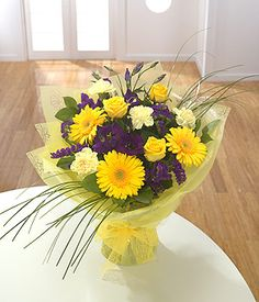 Gift of flowers. 'Bold' hand tied bouquet. £37.00 (free delivery) same day express service.