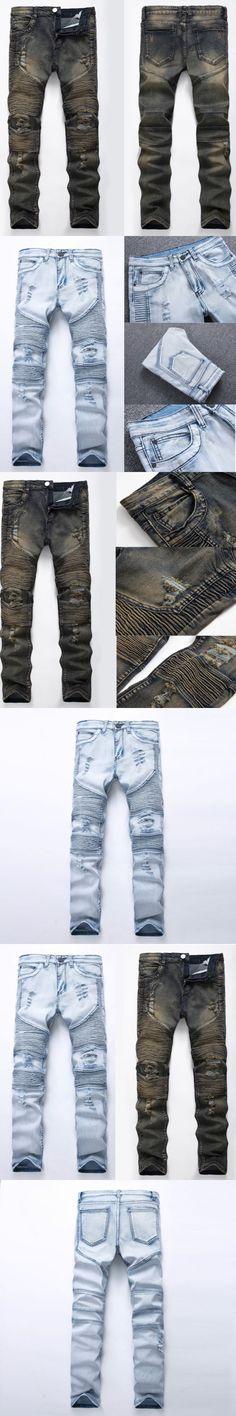 Men's Slim Skinny Straight Elastic Denim Pants Destroyed Ripped Jeans Casual Long Length Blue Jeans Pencil Pants Blue Gray