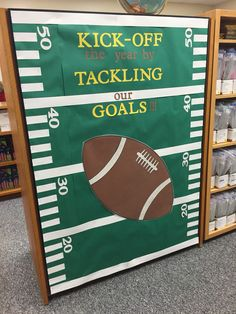 Start the new school with some football bulletin board Football Bulletin Boards, Christmas Bulletin Boards, Music Bulletin Boards, Winter Bulletin Boards, Back To School Bulletin Boards, Preschool Bulletin Boards, Sports Theme Classroom, Infant Classroom, Classroom Door