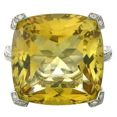 Asprey Citrine Diamond Gold Ring | From a unique collection of vintage cocktail rings at http://www.1stdibs.com/jewelry/rings/cocktail-rings/