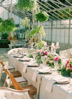 Love the idea of having a reception/dinner/tea in an old green house!  So soft and romantic!