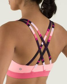 love these colours, so fun! - lululemon Energy Bra - bleached coral/guava lava