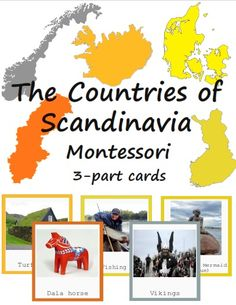 The Countries of Scandinavia Montessori Europe 3-part cards BUNDLE. It includes Iceland, Denmard, Finland, Sweden and Norway cards!