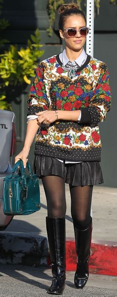 Jessica Alba in a boldly printed sweater - get more celebrity inspiration here!