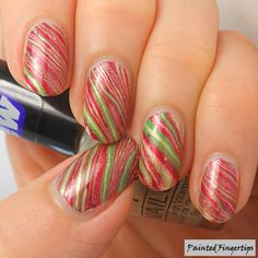 Painted Fingertips   Christmas water marble