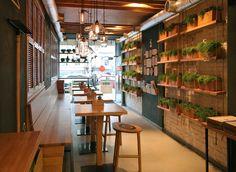 A casual fast-food restaurant in kiev, u. coffee shop ресторан, кафетерии 및 Restaurant Design, Concept Restaurant, Deco Restaurant, Fast Food Restaurant, Rustic Restaurant, Design Café, Cafe Design, Design Firms, Store Design