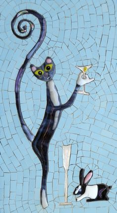 """Adorable painting idea! Cat with long cute curly tail holding a champagne glass giving a toast with a rabbit. OK, I know it is Mosaics, but this would make a lovely whimsical painting! """"Congratulations!"""". Please also visit www.JustForYouPropheticArt.com for more colorful art you might like to pin or purchase. Thanks for looking!"""