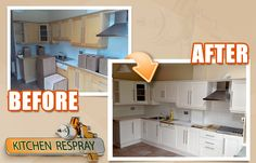 Kitchen ReSprays in Dublin, lovely oak kitchen totally transformed into farrow and ball Ammonite.