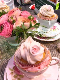 Perfect dessert/favor for bridal shower hosted in a tea room or with an afternoon tea theme. Get mismatched tea cups that are inexpensive, stuff with tissue paper and top with a gorgeous cupcake. Tea cup and saucer are the favors. Tea Party Cupcakes, Cupcake Cakes, Teacup Cupcakes, Rose Cupcake, Mickey Cupcakes, Pink Cupcakes, Teacup Cake, Valentine Cupcakes, Floral Cupcakes