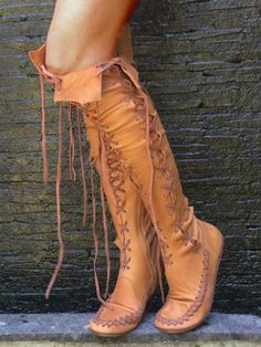 Lace-up Knee Length Flat Boots