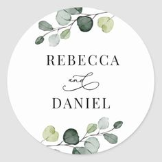 Greenery Eucalyptus Personalized Wedding Classic Round Sticker Name Stickers, Thank You Stickers, Round Stickers, Custom Stickers, Wedding Envelopes, Wedding Stationery, Wedding Invitations, Wedding Favors, Party Favors