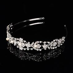 Bridal Crown Silver Tiara Queen Flower Leaf Butterfly Crystal/Diamond  Flower Hairclips Headpiece Wedding/Party – USD $ 15.99