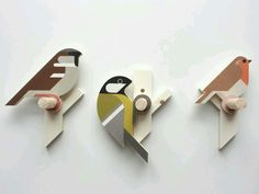 Wooden bird wall hooks by Guus van Zeeland I turn some of my bird designs into small wooden wall hooks. These are a Sparrow, Great tit and Robin. Printed on plywood, than CNC milled and assembled. Bird and branch are separate pieces, so one. Wooden Wall Hooks, Wooden Walls, Wall Wood, Bird Crafts, Wooden Crafts, Wood Projects, Woodworking Projects, Cnc Woodworking, Bois Diy