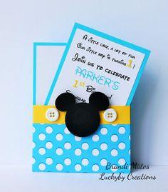 Invitaciones Mickey Mouse juego de 8 bebé por LuckyByCreations