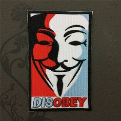V for Vendetta Patch DISOBEY Iron on patch embroidered patch iron on Applique hat patch bag patch Iron-On Patches sew on patches