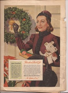 A cigarette ad from the December 11, 1937 issue of Liberty Magazine.  Can you imagine receiving a carton of Lucky Strikes from Joan Crawford for Christmas?