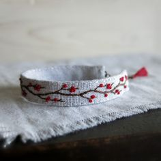 Hey, I found this really awesome Etsy listing at https://www.etsy.com/listing/255532164/winter-berries-hand-embroidered-cuff