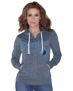 Just in time for 2015 training camp; Women's Tri-Blend full zip hoodie by Alyssa Milano: Memphis Grizzlies.