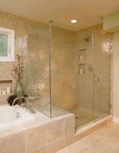 shower bendh, tile, wall inset, shower glass, light over shower. Looks more like one piece with the tub. Bath window higher to give inset shelves for tub.