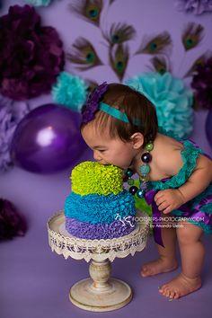 Smash Cake session Peacock theme, purple, green and aqua blue.