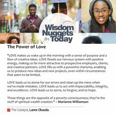 Love leads us to atone for our errors and clean up the mess when we've made mistakes.  Start March right with the Power of Love.  Love,LO.  #WisdomNuggetForToday #TheCatalyst