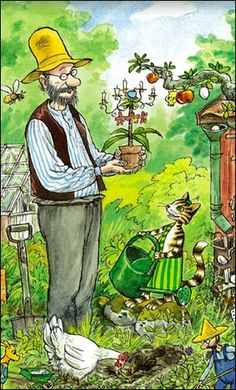 Pettson and his cat Findus; from a series of children's books by Swedish author and illustrator Sven Nordqvist Trolls, Nordic Art, All Nature, Art Graphique, Children's Book Illustration, Cat Art, Childrens Books, Sketches, Animation