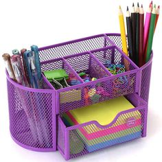 organize your office desk Stationary Organization, Stationary Supplies, Stationary School, Desk Supplies, Desk Organization, Purple Desk, Purple Office, Cute School Supplies, Office And School Supplies