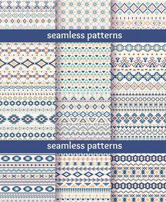 淡雅清新几何条纹民族风纹饰卡片背景图案 EPS矢量设计素材 5P-淘宝网