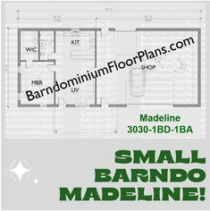 Madeline 30′ x 30′ – 1 bedroom – 1 bathroom (900 sq ft). We sell semi-custom Barndominium floor plans and provide helpful tips to design and build your home whether it is DIY or you are paying a company. #architecture #barndominiums #home #modernbarn #barnhomefloorplans #beautifulbarn #homefloorplan #barnhomedesign #housedesign #barndominiumfloorplans #floorplan #dreambarn #barnhouse #barndominiumliving #barndominiumdesign #studiotype #smallbarndo