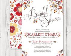 Bridal Shower Invitation : Floral Shower Invite - Romantic Garden Pattern - Printable Digital Invite