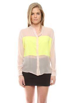 Color Block Silk Top
