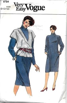 Vogue 8794 Misses Straight Dress With Scrunched Collar And Pullover Vest Pattern, 8-10-12, UNCUT by DawnsDesignBoutique on Etsy