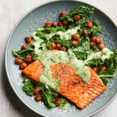Roasted Salmon with Smoky Chickpeas & Greens - EatingWell.com