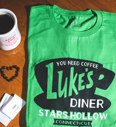 """""""You Need Coffee. Luke's Diner, Stars Hollow, CT"""" t-shirt. Gilmore Girls fans, this shirt is for you. TV shirts."""