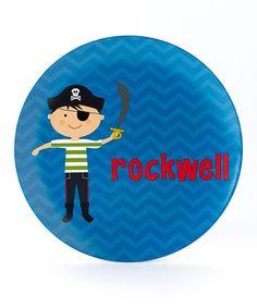 Look at this #zulilyfind! Pirate Personalized Plate #zulilyfinds