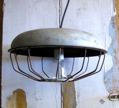 Industrial lighting Pendant Lamp Extra Large Vintage Farmhouse caged light hanging swag. $120.00, via Etsy.